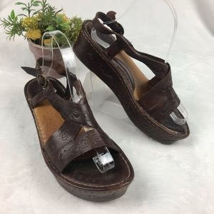 Born Etched Platform Sandals Brown Ankle Strap